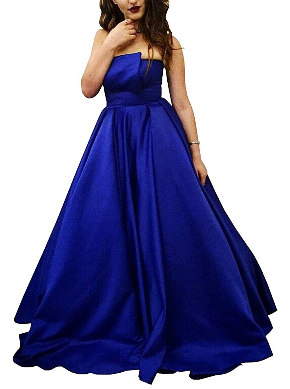 bcaf8ea8f499 YuNuo Prom Dress Royal Blue Strapless Back Lace Up Homecoming Dress A-line  Floor Length Evening Gown at Amazon Women's Clothing store: