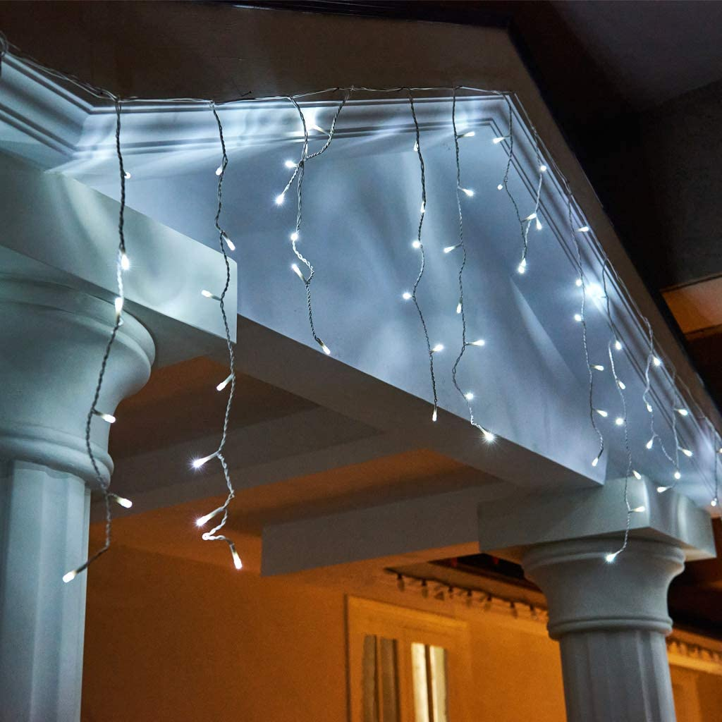 EAMBRITE 31FT 320 LED Icicle Fairy Lights Cool White LED Light Curtain String Lights for Home Christmas Wedding Facades