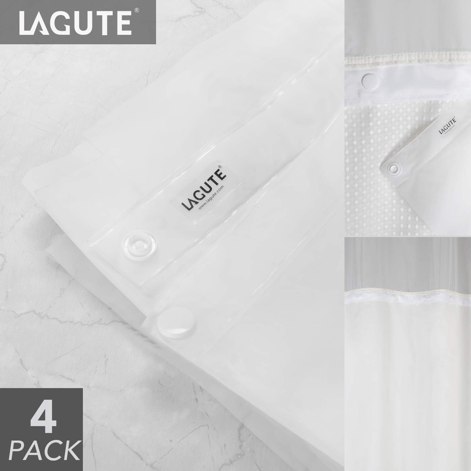 Lagute SnapHook Hookless Shower Curtain Replacement Snap-in Liner, Wipe Clean Machine Washable, Quick-Drying, No Chemical Odors, PEVA (4 Pack)