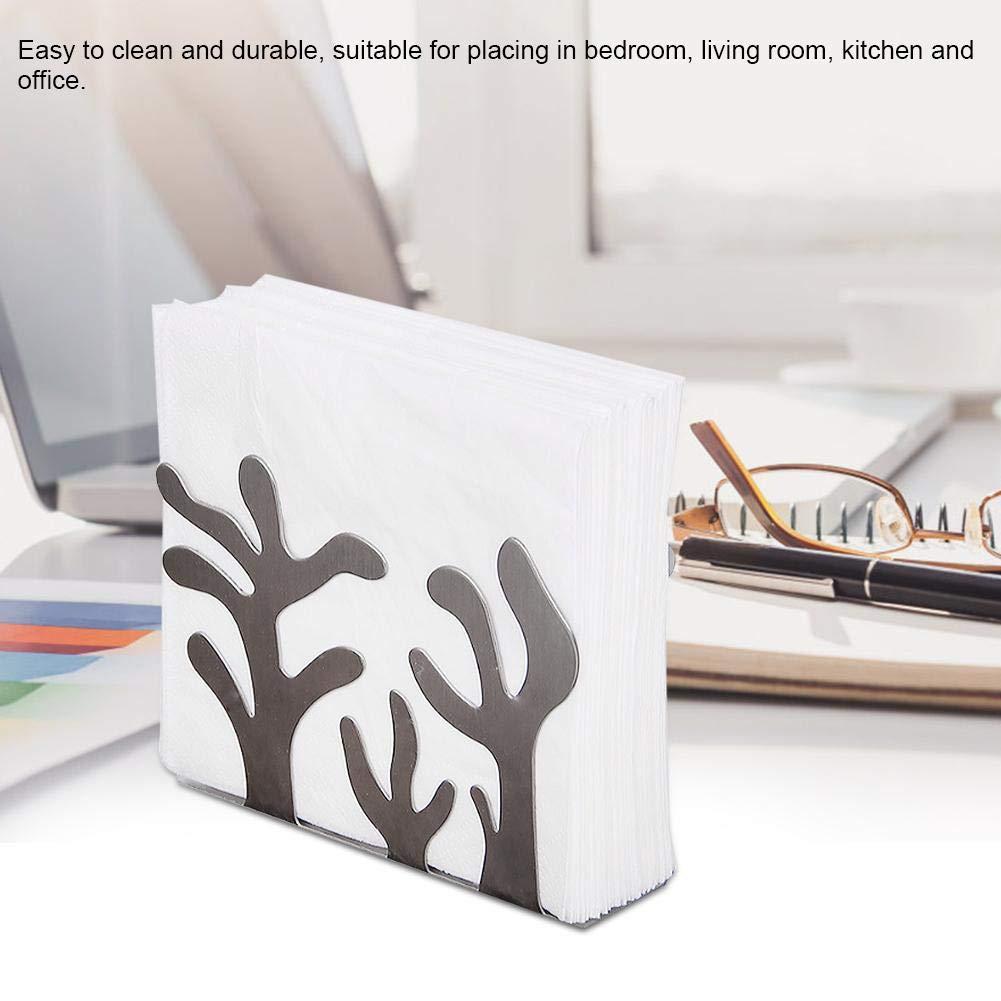 Supporto per fazzoletti di acciaio inossidabile Forma di piante Dispenser di carta Dispenser Portatovagliolo Tavolo da ufficio per ristorante interno per interni per interni