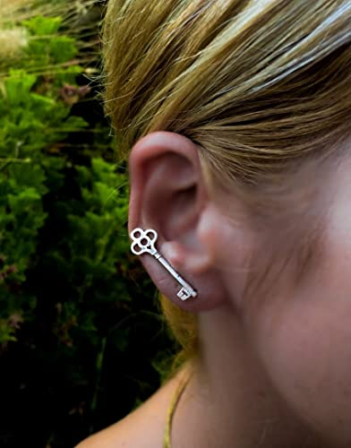 c95bd76e5 Image Unavailable. Image not available for. Color: 1 Celtic key ear cuff, sterling  silver ...
