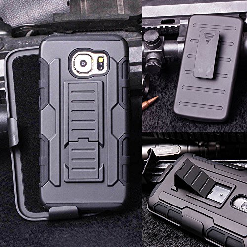 Customerfirst - Hard Shell Holster Combo Case For Samsung Galaxy S6 Edge Defender Advanced Armor Impact Hybrid Soft Silicone Cover Hard Snap On Plastic Case Kick Stand with Belt Clip Holster (FUTURE ARMOR BLACK)