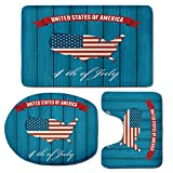 3 Piece Bath Mat Rug Set,USA-Map,Bathroom Non-Slip Floor Mat,United-States-of-America-Fourth-of-July-Themed-Icon-on-Wooden-Background-Decorative,Pedestal Rug + Lid Toilet Cover + Bath Mat,Petrol-Blue-
