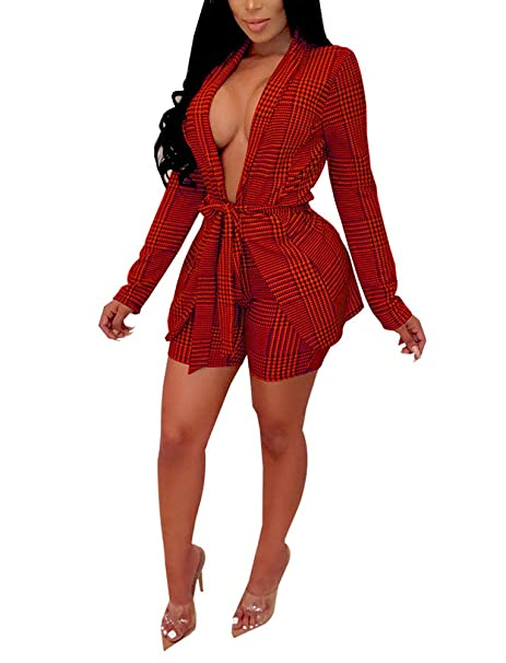 18ee60447c Women's Suits Two Piece Outfits - Sexy Open Front Blazer Jacket and Skinny  Shorts Set Belted