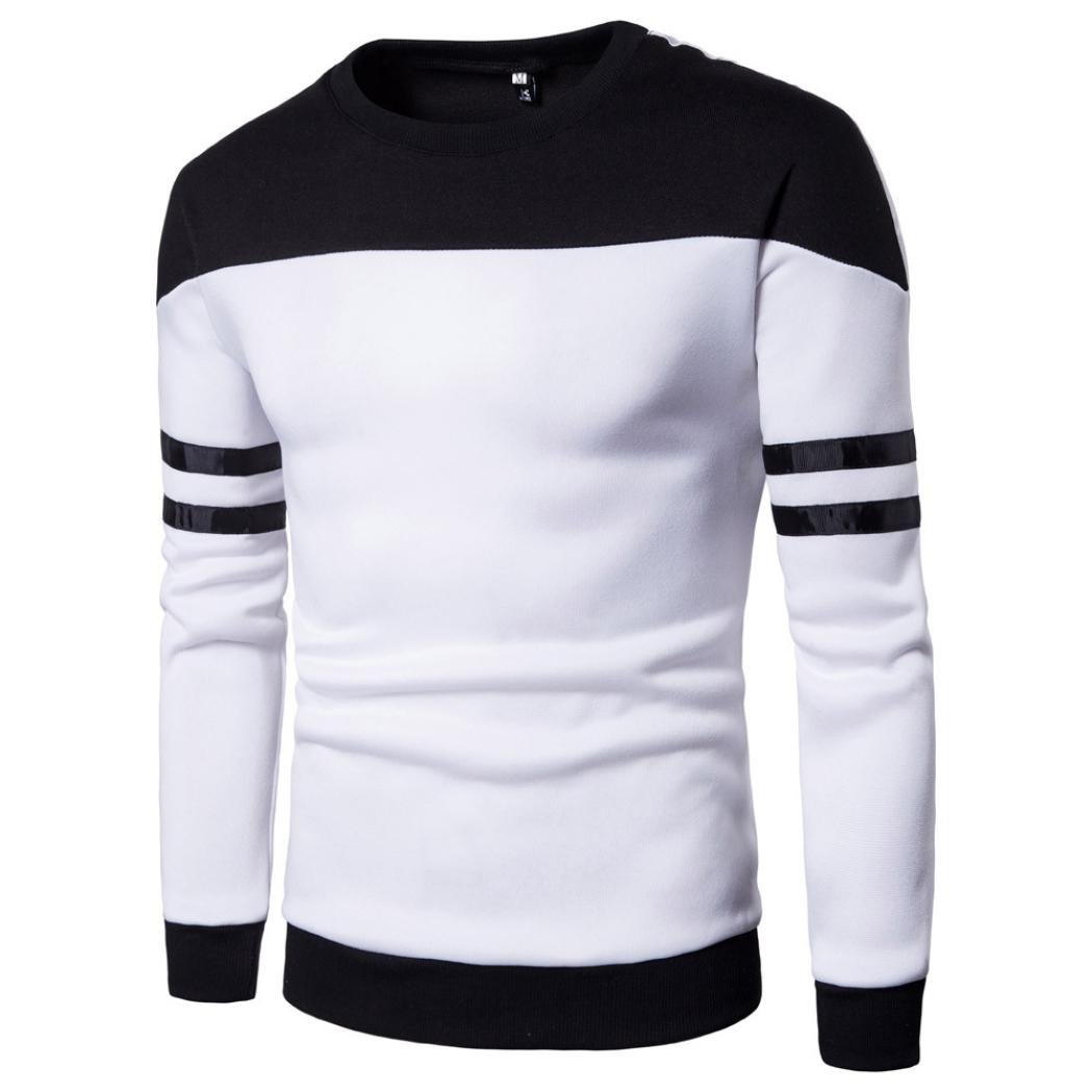 Amazon.com: kaifongfu Mens Top,Long Sleeve Patchwork Pullover Stitching Sweatshirt Top for Mens Outwear Blouse Tee: Clothing