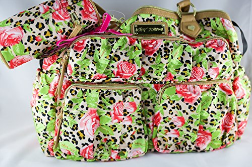 Betsey Johnson Cheetah Rose Natural Diaper Bag Set