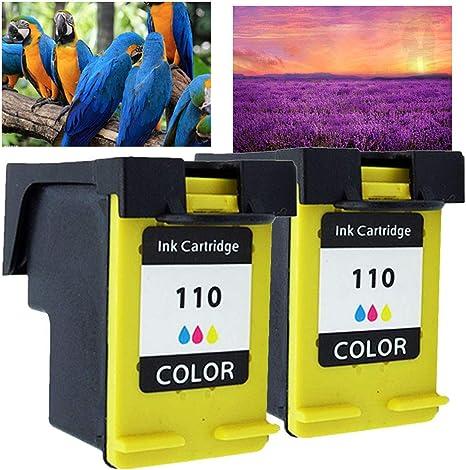 2 x Tricolor Compatible for HP 110 CB304 A Cartucho de Tinta for Photosmart A310 A516 A616 A716 A526 A626 A716 A617 A618 A612 A311 A314: Amazon.es: Oficina y papelería