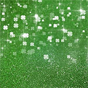 Haoyiyi 10x8ft Happy Saint Patricks Day Backdrop Lucky Shamrock Clover Gold Coins Glitter Shining Sequin Green Background Photography Adults Holiday Party Photo Booth Shoot Studio Prop