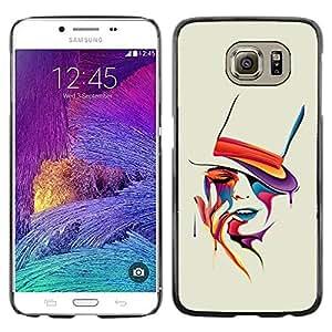 Caucho caso de Shell duro de la cubierta de accesorios de protección BY RAYDREAMMM - Samsung Galaxy S6 SM-G920 - Colorful Art Portrait