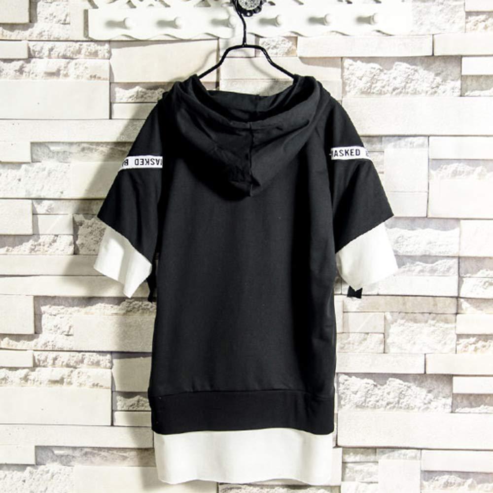 半袖 おおきいサイズ おしゃれ カットソートップス フード付き tシャツ 原宿風 メンズ 無地 パーカー ゆったり