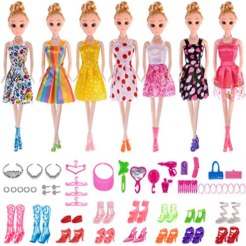 Total 56pcs - 7 Pack Barbie Clothes Dresses Accessory Party Grown Outfits Barbie Fashionista + 49pcs Barbie Accessories Shoes Bags Necklace Mirror Hanger Tableware for Barbie Doll Girl Birthday Gift (Fashionista Table)