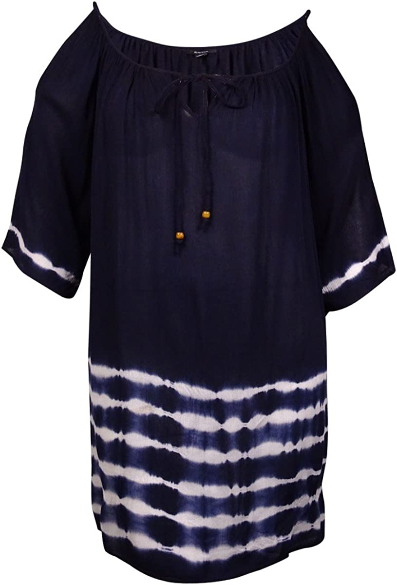 Raviya Love-Sleeve Cold-Shoulder Tie-Dye Cover-Up Small Navy