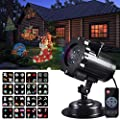 Rophie LED Projector Light, Waterproof Outdoor/Indoor Landscape Decoration Lighting with 16 Excluxive Design Slides for Halloween Christmas New Year Birthday Party