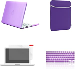 TOP CASE - 4 in 1 Essential Bundle Matte Hard Case, Sleeve, Keyboard Cover, Screen Protector Compatible MacBook White 13