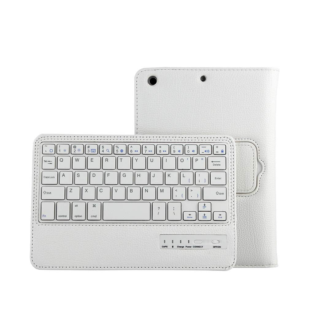 Sonmer Ultra-Thin Wireless Bluetooth Keyboard For iPad Air 10.5inch, With Detachable Leather Case (White)