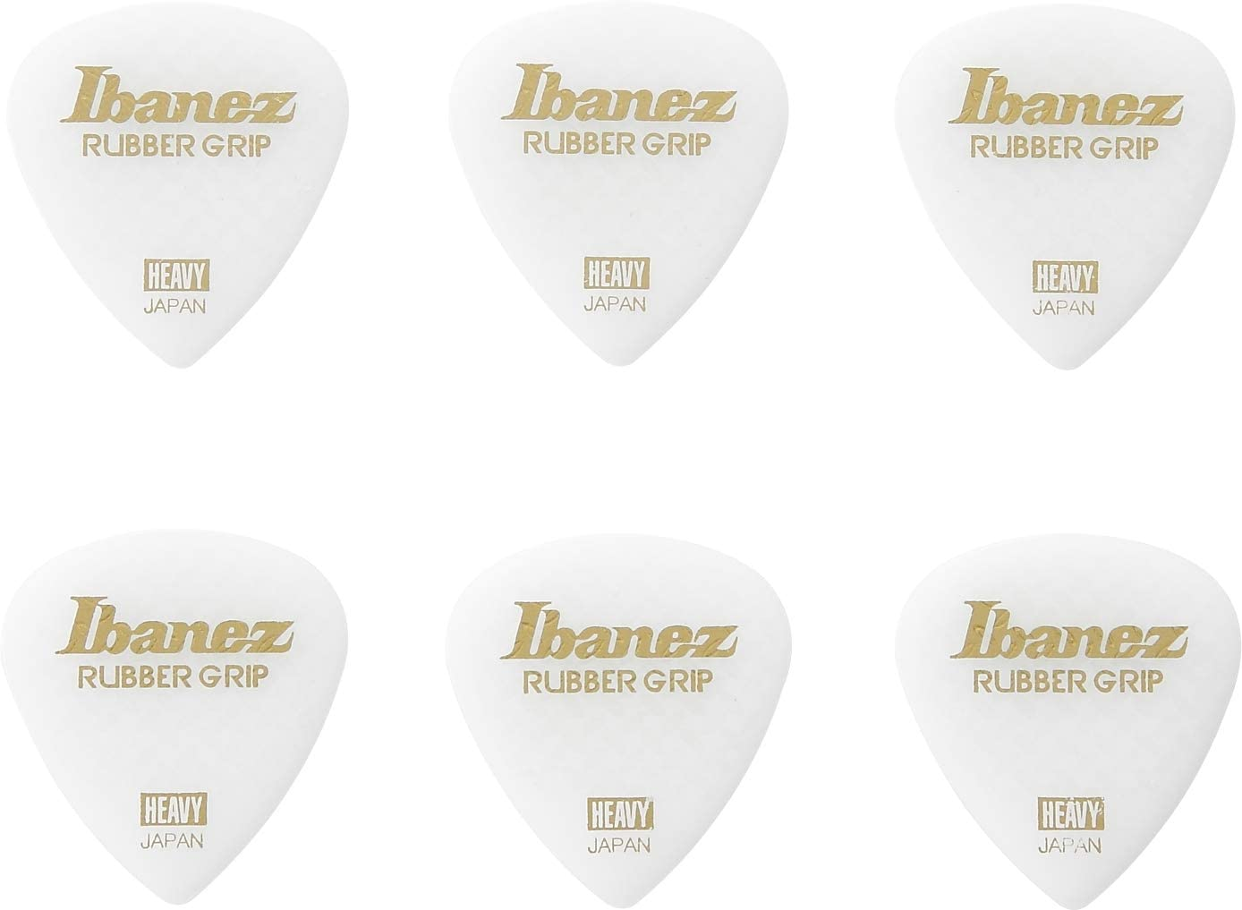 Ibanez Flat Pick PPA16HRG-WH - Juego de 6 púas para guitarra (agarre de goma, 1 mm)