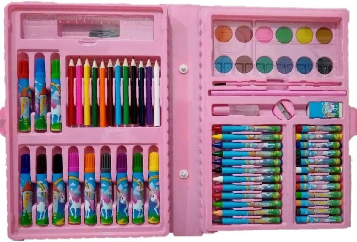 Estojo De Pintura Com 68 Peças Para Meninas Kit Escolar Rosa 68 Peças Estojo Maleta Pintura
