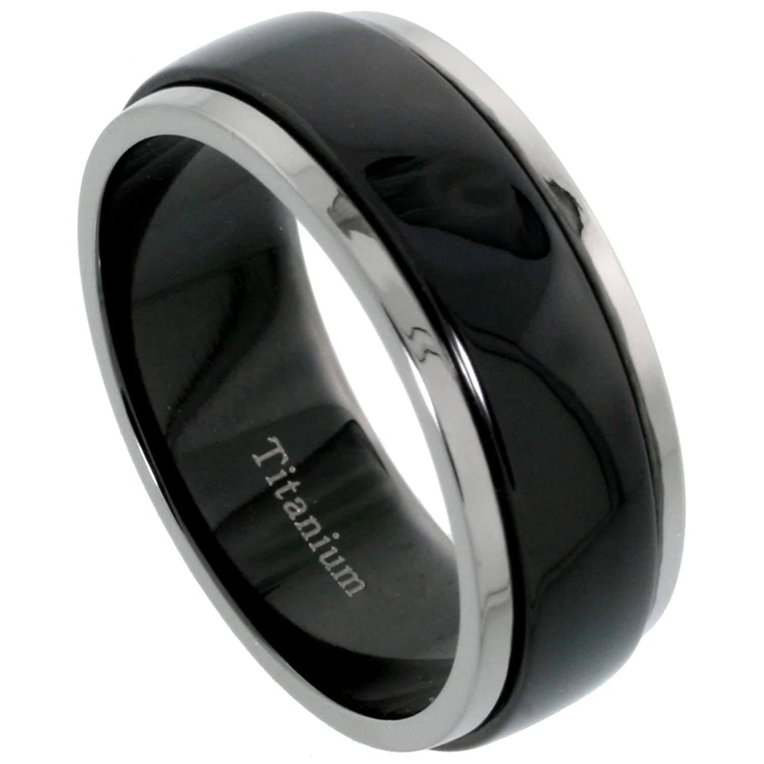 Black Titanium 8mm Wedding Band Spinner Ring Two Tone Finish