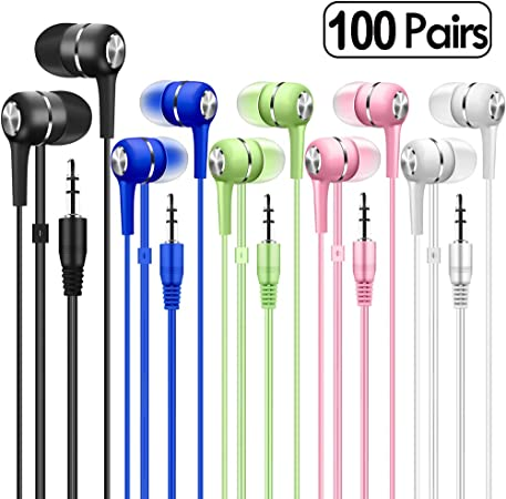 Bulk Earbuds Headphones 100 Pack Multi Colored for School Classroom Students Kids Child Teen Mixedcolor