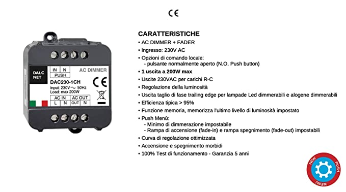 Kingled 2835 cod Dalcnet Led Dimmer Singolo Canale DLC1224-1CV Potenza 10A DC 12-24V Made in Italy Dimmer 1CH Confezione Bulk