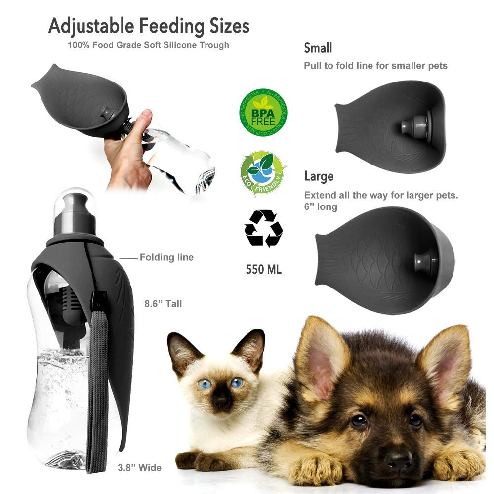 Carbon Filtered Portable Drinking Water Dispenser Bottles For Dogs And Pets 550 ML Lightweight Carrier Bark /& Meow Co Dog Water Bottle for Travel