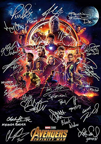 United Mart Poster Avengers Infinity War Ironman Spiderman Autograph Signed Movie Cover Poster 12 x 18 Inch Rolled - Poster Autograph