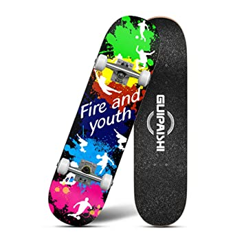 Skateboard Completo Skateboard-Doble Patada Arce Madera Adulto Trucos Skate Board para Principiantes, Cuatro Ruedas De Carretera Skateboard: Amazon.es: ...