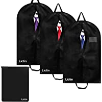 Lictin 100 cm Breathable Garment Suit Clothes Covers Bags, Pack of 3, and 1 Shoes Bag (Black)