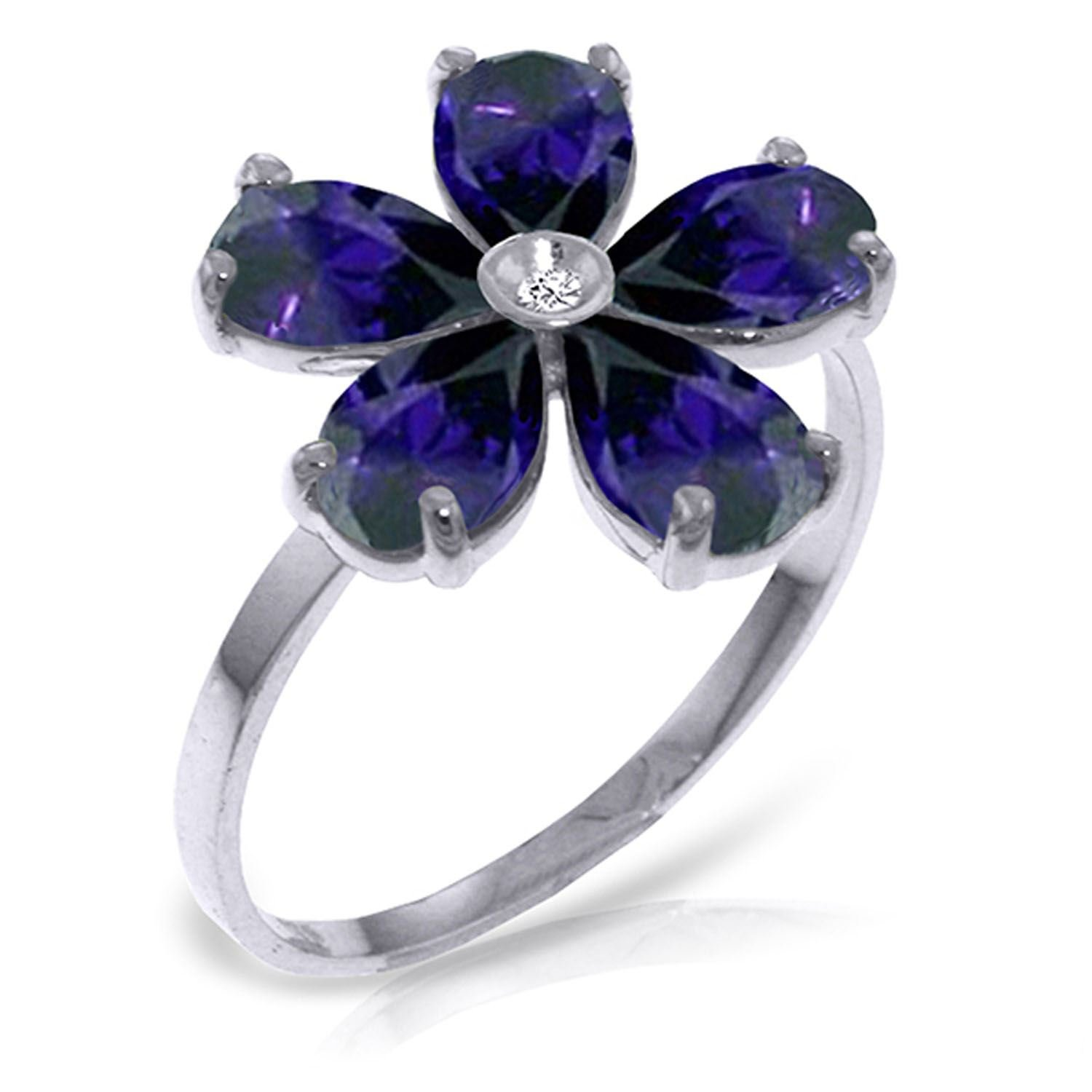 ALARRI 2.22 CTW 14K Solid White Gold Love Expands Sapphire Diamond Ring With Ring Size 9