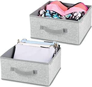 mDesign Soft Fabric Modular Closet Organizer Box with Handle for Cube Storage Units in Closet, Bedroom to Hold Clothing, T Shirts, Leggings, Accessories - Textured Print, 2 Pack - Gray