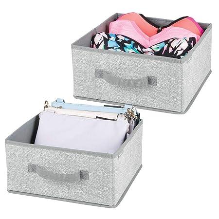 Portaoggetti e portabiancheria per la casa mDesign set da 2 scatole in tessuto con 2 scomparti Colore: grigio Ideale per vestiti coperte e biancheria