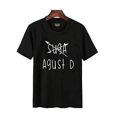 T-Shirt Women Casual BTS Suga Min Yoongi Kpop T Shirt Round Neck Short Sleeve