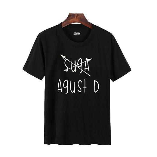 Amazon.com: PiterNace T-Shirt Women Casual BTS Suga Min Yoongi Kpop T Shirt Round Neck Short Sleeve Womens T-Shirts Camisetas Mujer Pink L: Clothing