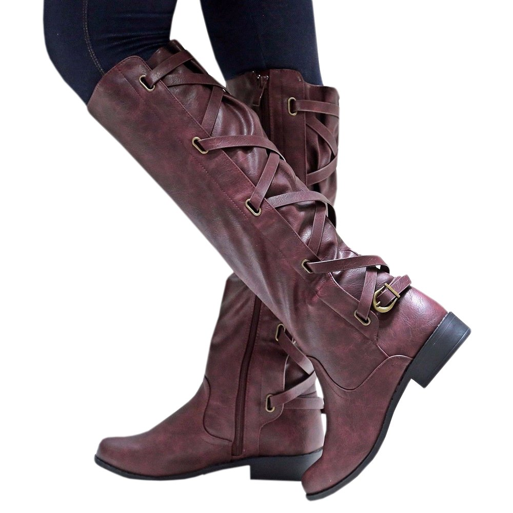 Syktkmx Womens Lace up Strappy Knee High Motorcycle Riding Low Heel Winter Leather Boots B0784ZP54F 11 B(M) US|1-wine Red