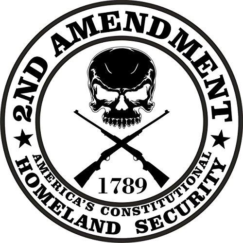 **4-Pack** 2nd Amendment - America's Constitutional Homeland Security Round Bumper Sticker Decal | 3 Inch