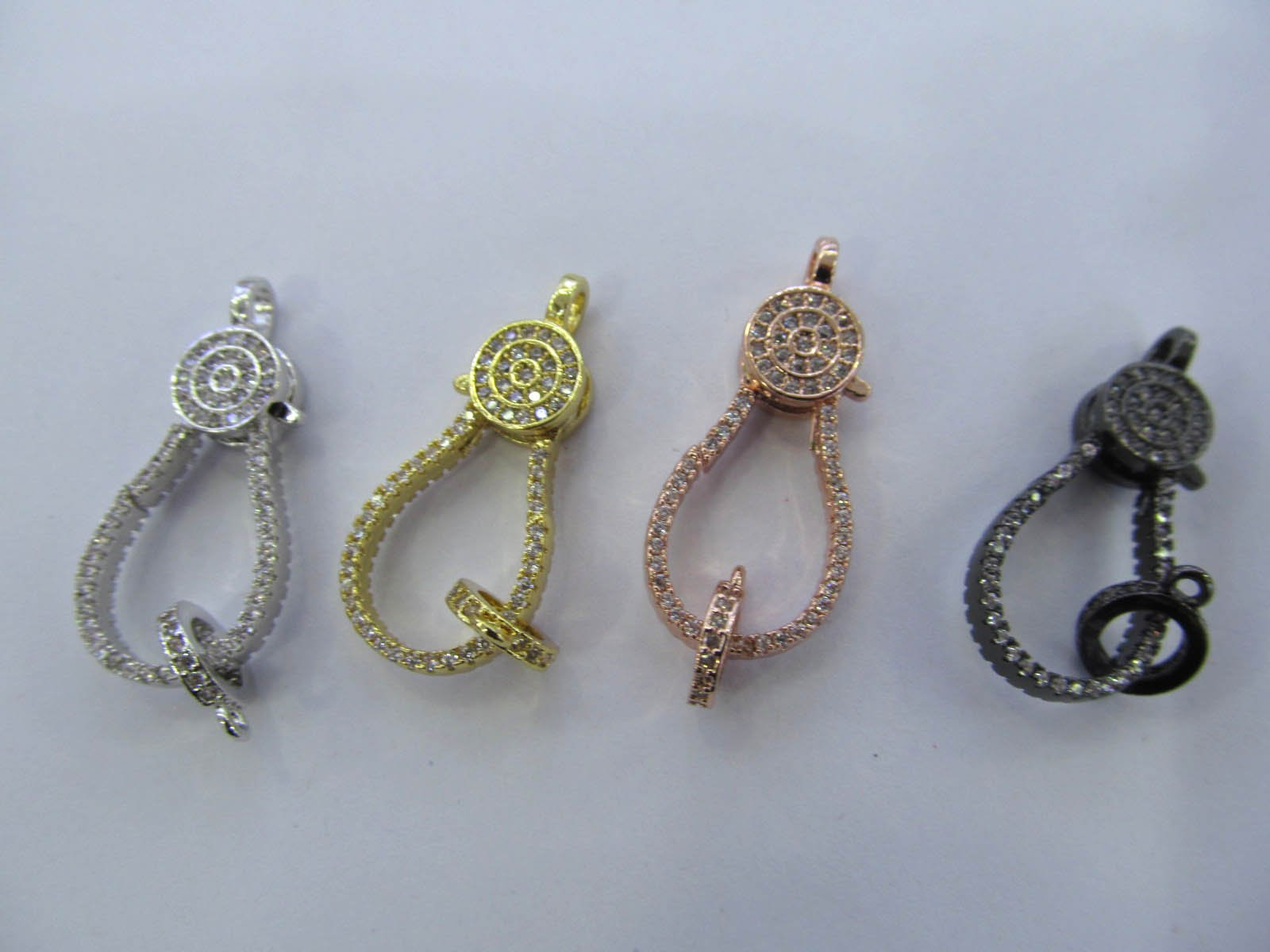 Wholesale 24sets 18-30mm Micro Pave Enhancer Clasp,Large CZ Clasp,Pave Lobster Clasp,Lobster Closure by weekbeads