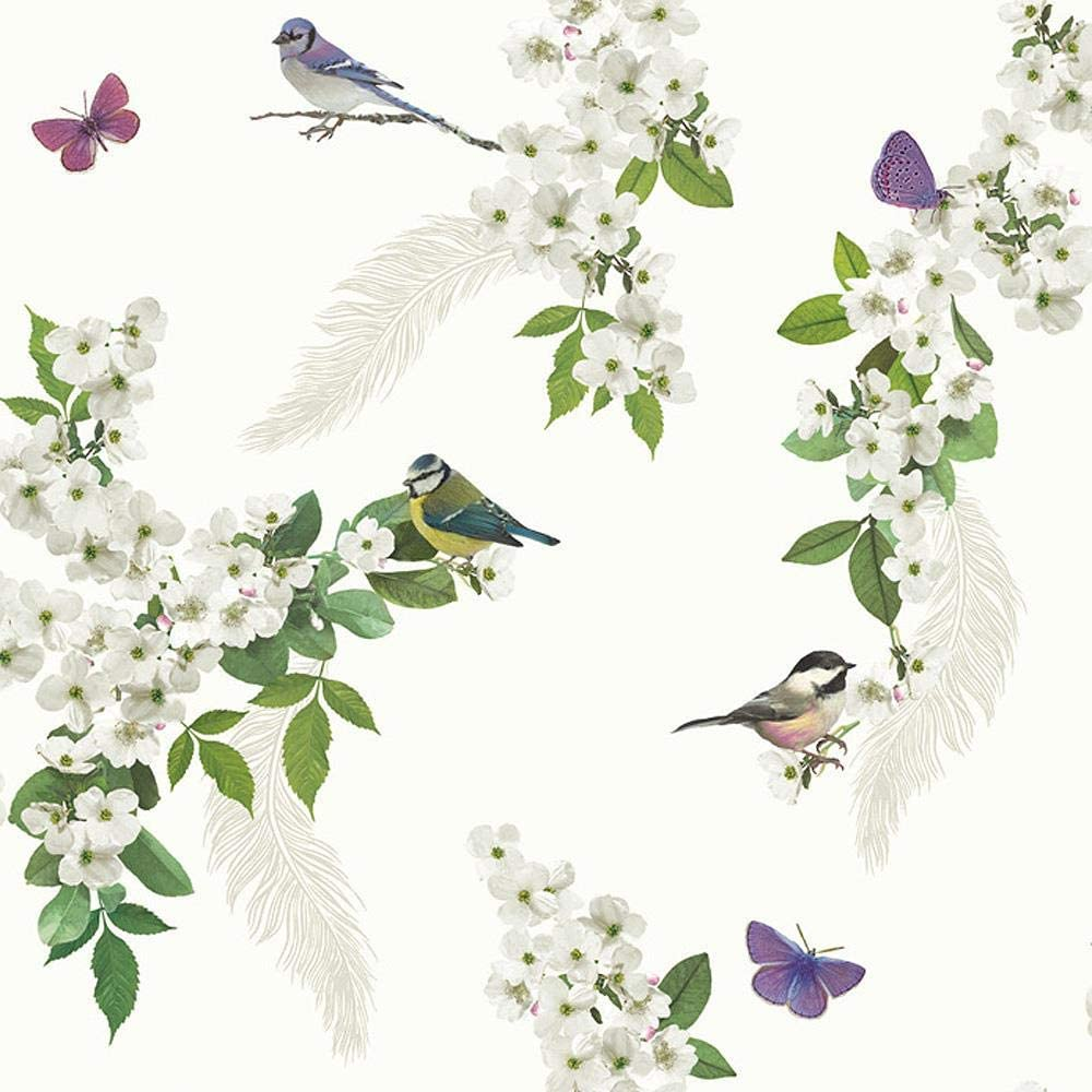 Floral Glitter Wallpaper Flowers Birds Butterflies White Green Purple Y�L
