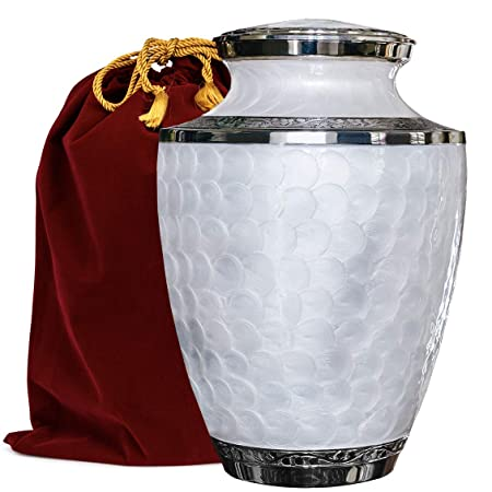 Everlasting Love Beautiful and Timeless White Adult Cremation Urn For Human Ashes – This Large Elegant Mother of Pearl Enamel and Nickel Urn Is a Perfect Tribute to Honor Your Loved One – w Velvet Bag