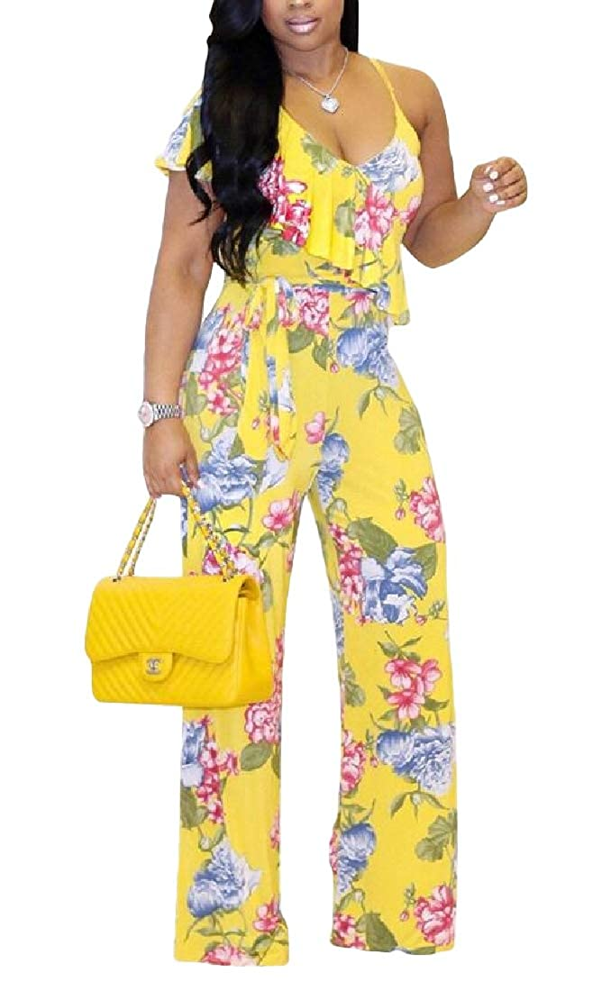 YIhujiuben Women Short Sleeve Button Up V Neck One Piece Jumpsuits Rompers Tops Clubwear