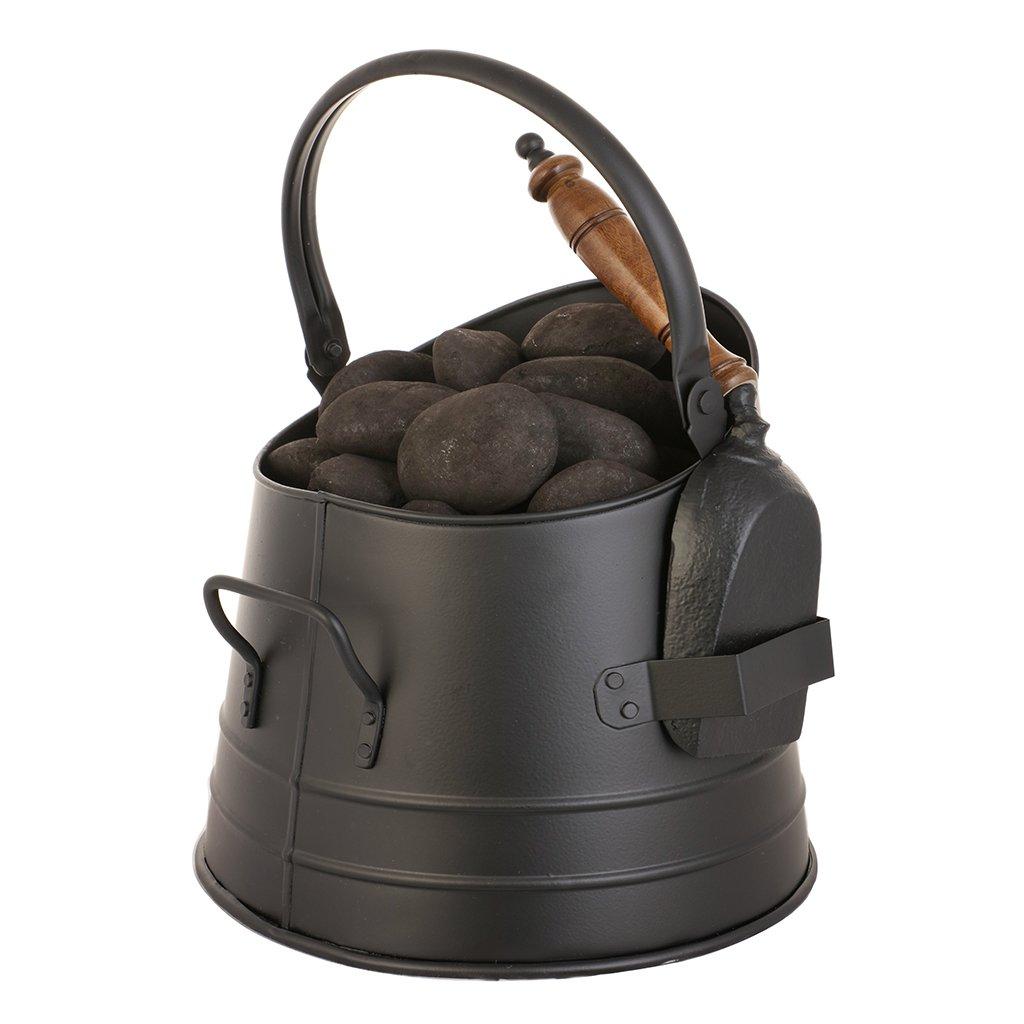 Matte Black Fireside Charcoal and Briquette Scuttle Hod Bucket Dibor
