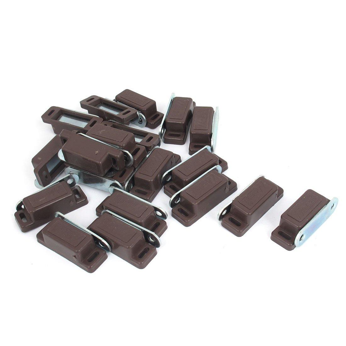 Cabinet Door 46mm Length Plastic Magnetic Catch Latch Brown 20pcs
