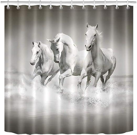 The Horse Theme Waterproof Fabric Home Decor Shower Curtain Bathroom Mat