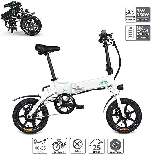 Bicicleta Electricas Plegables, Bicicleta Eléctrica Plegable con Soporte para Teléfono USB Batería De Iones De Litio (36V 250W 10.4AH) Motor Sin Escobillas, Eléctrico Puro 40-55Km,Blanco: Amazon.es: Hogar