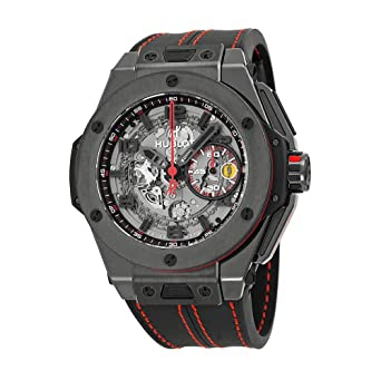 c6db3e49f Amazon.com: Hublot Ferrari All Black Automatic Openwork Dial Black ...