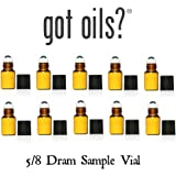 Got Oils® PACK OF 10 AMBER 5/8 DRAM GLASS SAMPLE ROLLER VIALS WITH STAINLESS STEEL ROLLER