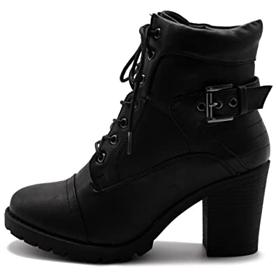 3d874a79d8b Ollio Women Shoe Lace Up Back Buckled Stacked Heel Ankle Boots