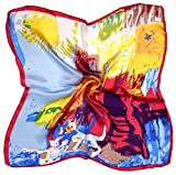 Blue Yellow Abstract Printed Fine Silk Small Square Scarf