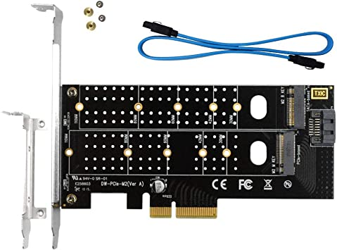 M-Key and SATA III B-Key 2230 2242 2260 2280 SSD to PCI Express 3.0 x4 Adapter Expansion Card Tenext M.2 PCIe 3.0 x4