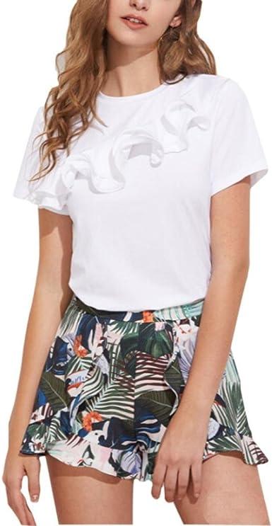 Vovotrade® 2017 Mujer Hem Nuevo Chaleco Tops Manga Corta Camisa Blusa Casual Tops impresión Camiseta: Amazon.es: Ropa y accesorios