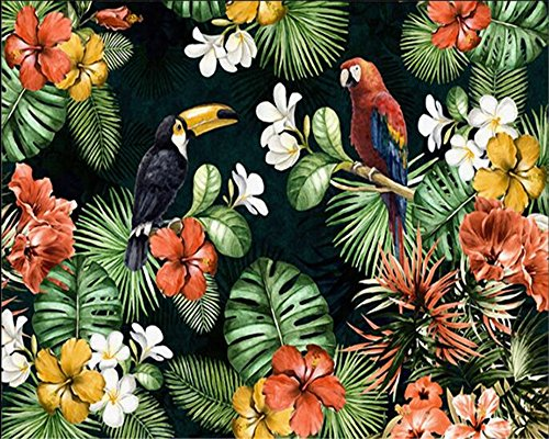 Lqwx Photo Wallpaper Painting Parrot Tropical Rainforest Tropical Plant Cartoon Child Room Wallpaper Home Decoration Mural-120Cmx100Cm